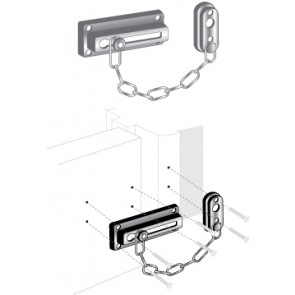 """EDL-110: 3-5/8"""" CHAINED DOOR GUARD - BRASS FINISH"""