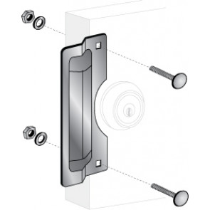 """ELP-210: 7"""" x 3"""" CENTER ROSE LATCH PROTECTOR -STAINLESS STEEL"""