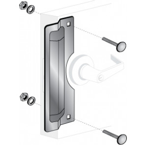 """ELP-220: 11"""" x 3"""" CENTER ROSE LATCH PROTECTOR - STAINLESS STEEL"""