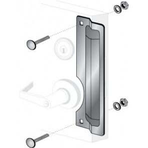 """ELP-221: 11"""" x 3"""" LEFT HAND LATCH PROTECTOR - STAINLESS STEEL"""