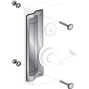 """ELP-222: 11"""" x 3"""" RIGHT HAND LATCH PROTECTOR - STAINLESS STEEL"""