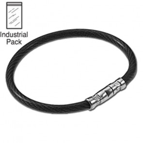 Black Locking Cable Key Ring (25/PK) -Lucky Line
