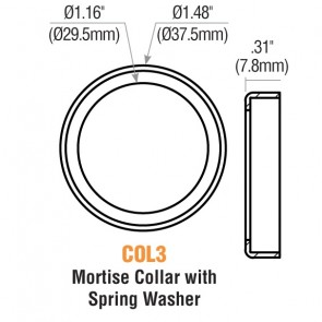 """1/4"""" Mortise Cylinder Collar (Polished Bronze) w/ Spring Washer -by GMS"""