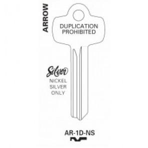 Arrow 1D Nickel Silver Key Blank - AR-1D-NS (JET)
