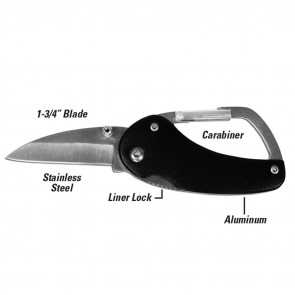 UtiliCarry™ Black Carabiner Knife (1/CD) -by Lucky Line